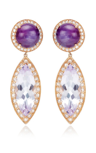 Round Star Ruby With Rose De France Marquis Earrings by Andrea Fohrman for Preorder on Moda Operandi