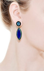 Andrea Fohrman - Unique Round Mosaic Opal & Lapis Marquis With Emeralds Earrings