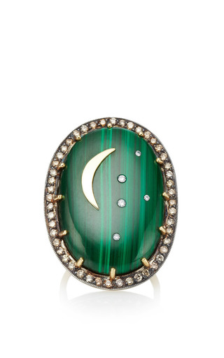 Oval Malachite Ring With Crescent Moon by Andrea Fohrman for Preorder on Moda Operandi