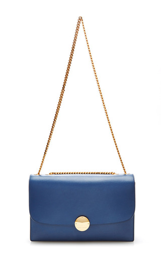 Big box leather trouble bag in blue by MARC JACOBS Now Available on Moda Operandi