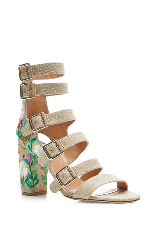 Dana embroidered linen sandals by LAURENCE DACADE Available Now on Moda Operandi