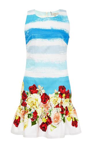 Printed frilled-hem mini dress by ISOLDA Available Now on Moda Operandi