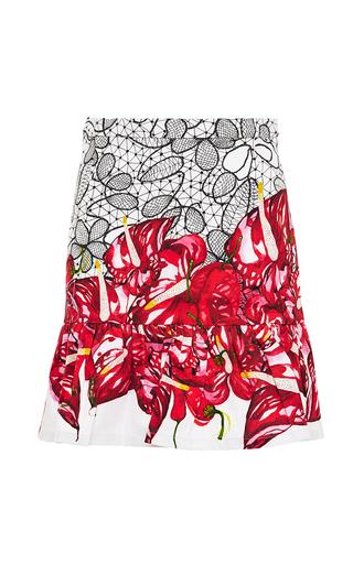 Printed frilled-hem mini skirt by ISOLDA Available Now on Moda Operandi