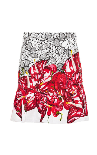 Printed frilled-hem mini skirt by ISOLDA Now Available on Moda Operandi