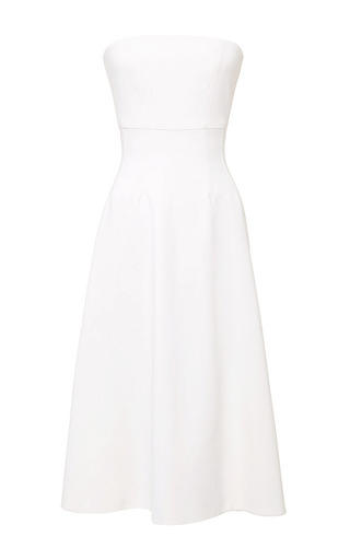 Seamed corset strapless swing dress by KATIE ERMILIO Now Available on Moda Operandi