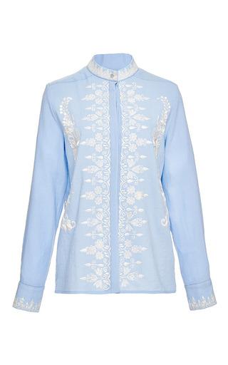 Estella fine wool embroidered pale blue shirt by VILSHENKO Preorder Now on Moda Operandi