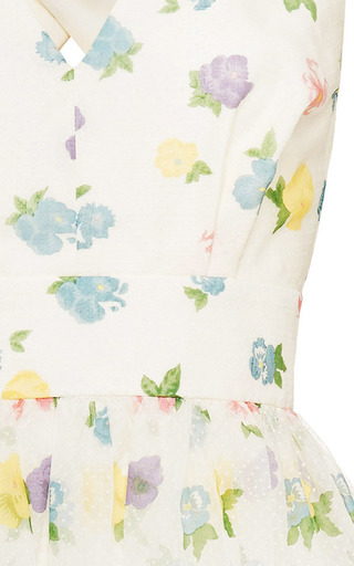 Florentina Floral Flock Print Cross Back Dress by Vilshenko for Preorder on Moda Operandi