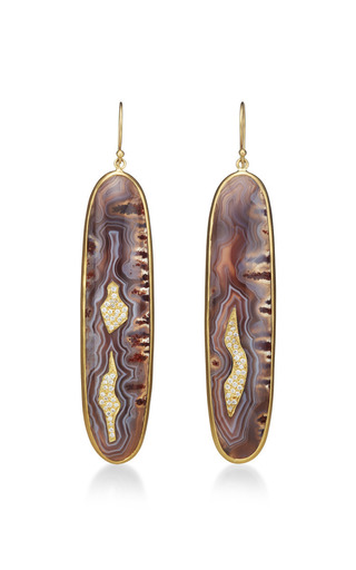One Of A Kind Botswana Drop Agate Earrings by Kothari for Preorder on Moda Operandi
