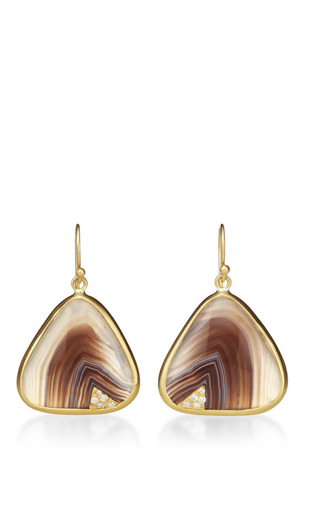One Of A Kind Botswana Agate Earrings by Kothari for Preorder on Moda Operandi