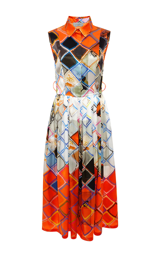 Darwen printed silk-satin dress by PREEN BY THORNTON BREGAZZI Now Available on Moda Operandi