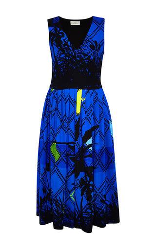 Palm printed crepe dress by PREEN BY THORNTON BREGAZZI Now Available on Moda Operandi