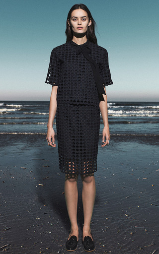 Cotton Eyelet Skirt in Navy by Sea for Preorder on Moda Operandi