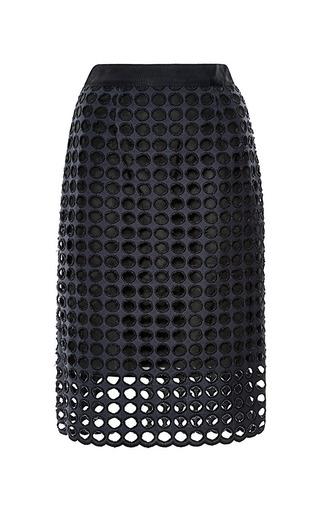 Sea - Cotton Eyelet Skirt in Navy