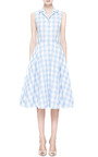 Light Blue Checked Dress by Natasha Zinko for Preorder on Moda Operandi