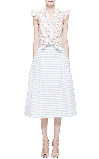 Midi Linen Striped Pleated Skirt by Natasha Zinko for Preorder on Moda Operandi