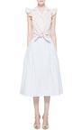 Midi Linen Striped Pleated Skirt by NATASHA ZINKO for Preorder on Moda Operandi