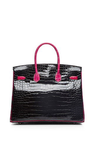 Heritage Auctions Special Collection - Hermes 35Cm Black & Rose Shocking Shiny Porosus Limited Edition Birkin