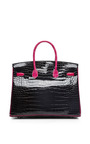 Hermes 35 Cm Black & Rose Shocking Shiny Porosus Limited Edition Birkin by HERITAGE AUCTIONS SPECIAL COLLECTION for Preorder on Moda Operandi