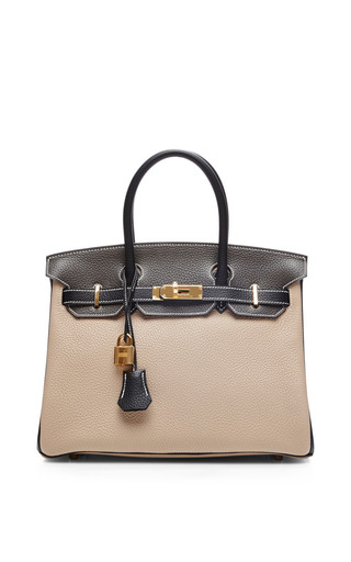 Hermes 30 Cm Argile, Graphite, & Black Clemence Birkin by HERITAGE AUCTIONS SPECIAL COLLECTION for Preorder on Moda Operandi