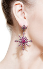 Ruby And Diamond Snowburst Earrings by Bochic for Preorder on Moda Operandi
