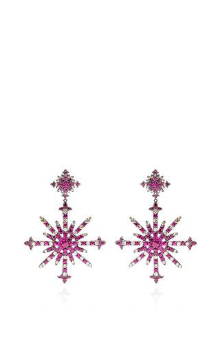 Ruby And Diamond Snowburst Earrings by Bochic for Preorder on Moda Operandi