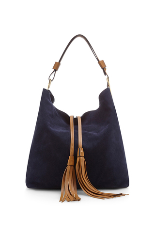 Blu china sandy suede shoulder bag by MARNI Available Now on Moda Operandi