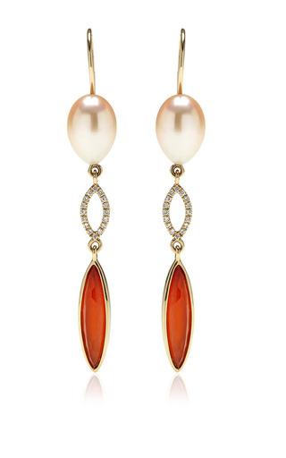 Jane taylor peach freshwater pearl earrings by JANE TAYLOR Preorder Now on Moda Operandi