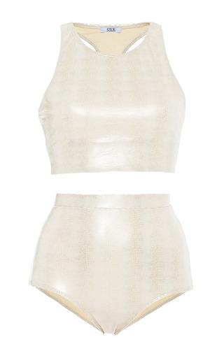 Oye swimwear cobra albino kara with high rise bottom by OYE Preorder Now on Moda Operandi