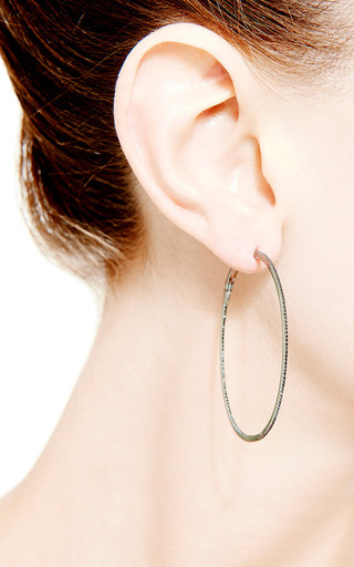 Hoop Earrings In Black Diamond by Dana Rebecca Designs for Preorder on Moda Operandi