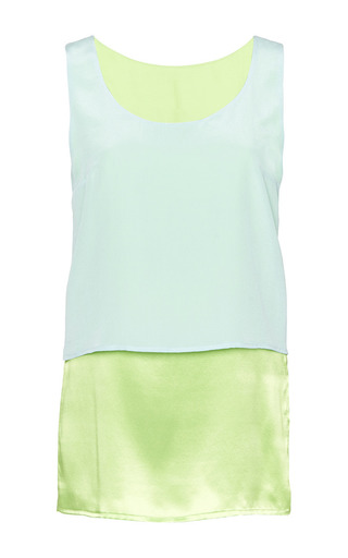 Layering top in green satin and mint by PERRET SCHAAD Preorder Now on Moda Operandi