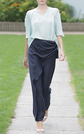 Chingiz Trousers In Blue Melange by Perret Schaad for Preorder on Moda Operandi