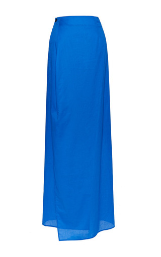 Timothy wrap skirt in blue by PERRET SCHAAD Preorder Now on Moda Operandi