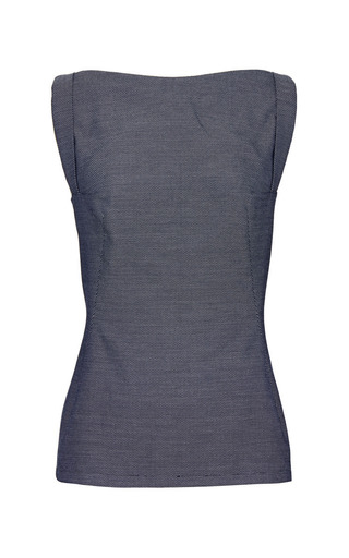 Tammo top in blue pique by PERRET SCHAAD Preorder Now on Moda Operandi