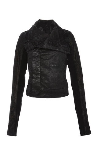 Denim and leather biker jacket with oversized collar by RICK OWENS DRKSHDW Now Available on Moda Operandi