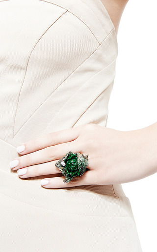 One Of A Kind Jade And Garnet Flower Ring by WENDY YUE for Preorder on Moda Operandi