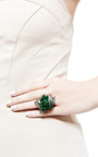 Wendy Yue - One of a Kind Jade And Garnet Flower Ring