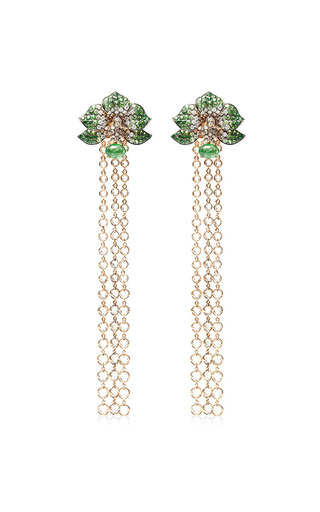 Wendy Yue - Orchid Chandelier Earrings In Green Garnet