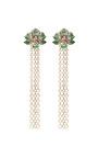 Orchid Chandelier Earrings In Green Garnet by Wendy Yue for Preorder on Moda Operandi