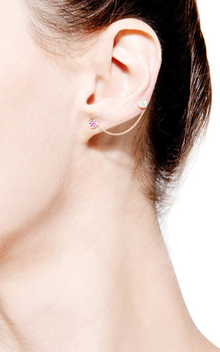 Ruby And Diamond Disc Studs With Chain by Sydney Evan for Preorder on Moda Operandi