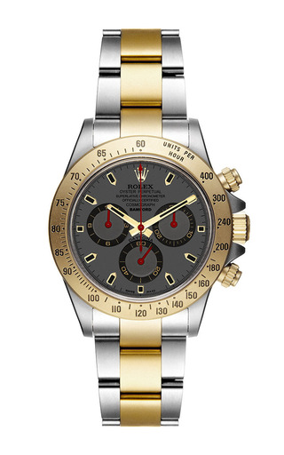 Bi-colour daytona with grey and red dial by BAMFORD WATCH DEPARTMENT for Preorder on Moda Operandi