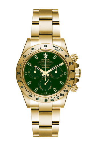 18k matte gold daytona with bwd green dial by BAMFORD WATCH DEPARTMENT for Preorder on Moda Operandi