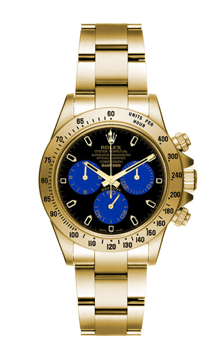 18k matte gold daytona with blue and black dial by BAMFORD WATCH DEPARTMENT for Preorder on Moda Operandi