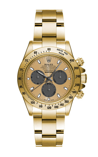 18k matte gold daytona with grey and gold dial by BAMFORD WATCH DEPARTMENT for Preorder on Moda Operandi