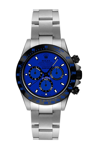 Steel daytona with blue dial by BAMFORD WATCH DEPARTMENT for Preorder on Moda Operandi