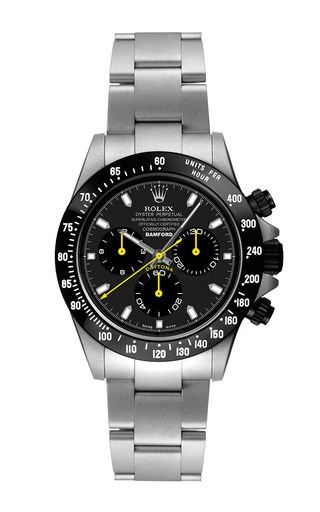 Steel Daytona With Yellow And Black Dial by BAMFORD WATCH DEPARTMENT for Preorder on Moda Operandi