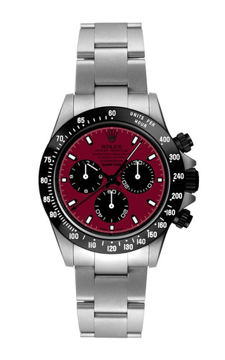 Steel daytona with claret red dial by BAMFORD WATCH DEPARTMENT for Preorder on Moda Operandi