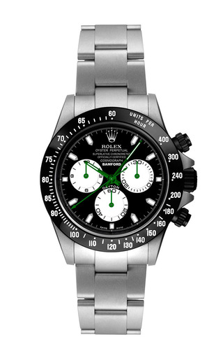 Steel daytona with black, white, and green dial by BAMFORD WATCH DEPARTMENT for Preorder on Moda Operandi