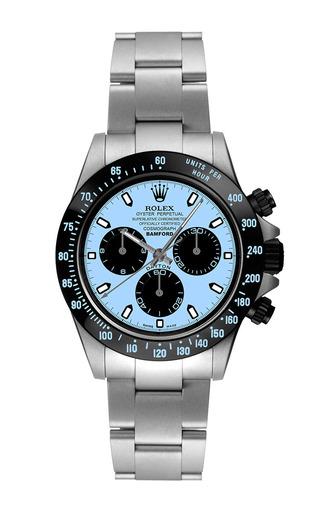 Steel Daytona With Aqua Blue Dial by BAMFORD WATCH DEPARTMENT for Preorder on Moda Operandi