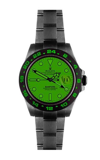 Explorer ii scuba with emerald green dial by BAMFORD WATCH DEPARTMENT for Preorder on Moda Operandi