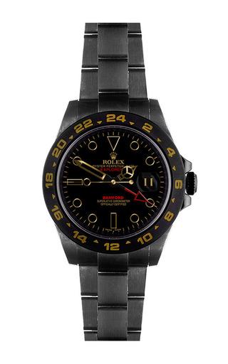 Explorer ii scuba with black dial by BAMFORD WATCH DEPARTMENT for Preorder on Moda Operandi